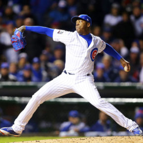 Aroldis Chapman pitches three innings in game five of 2016 World Series