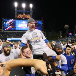 David Ross carried off field, 2016 World Series (Brian Cassella / Chicago Tribune)
