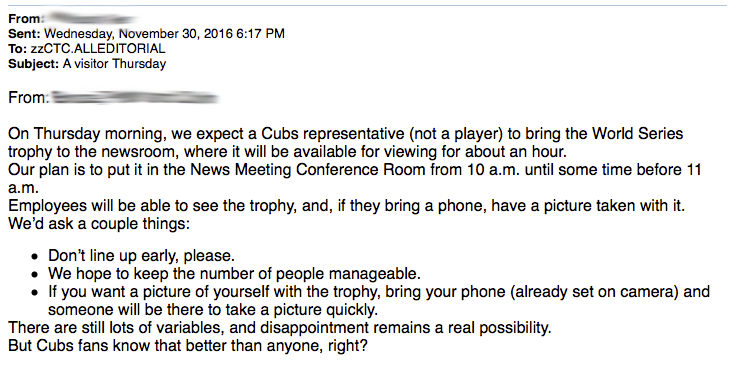 email about World Series trophy visit