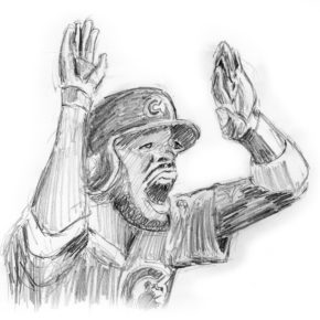 Pencil drawing of Dexter Fowler hitting leadoff homerun in game 7 of 2016 World Series