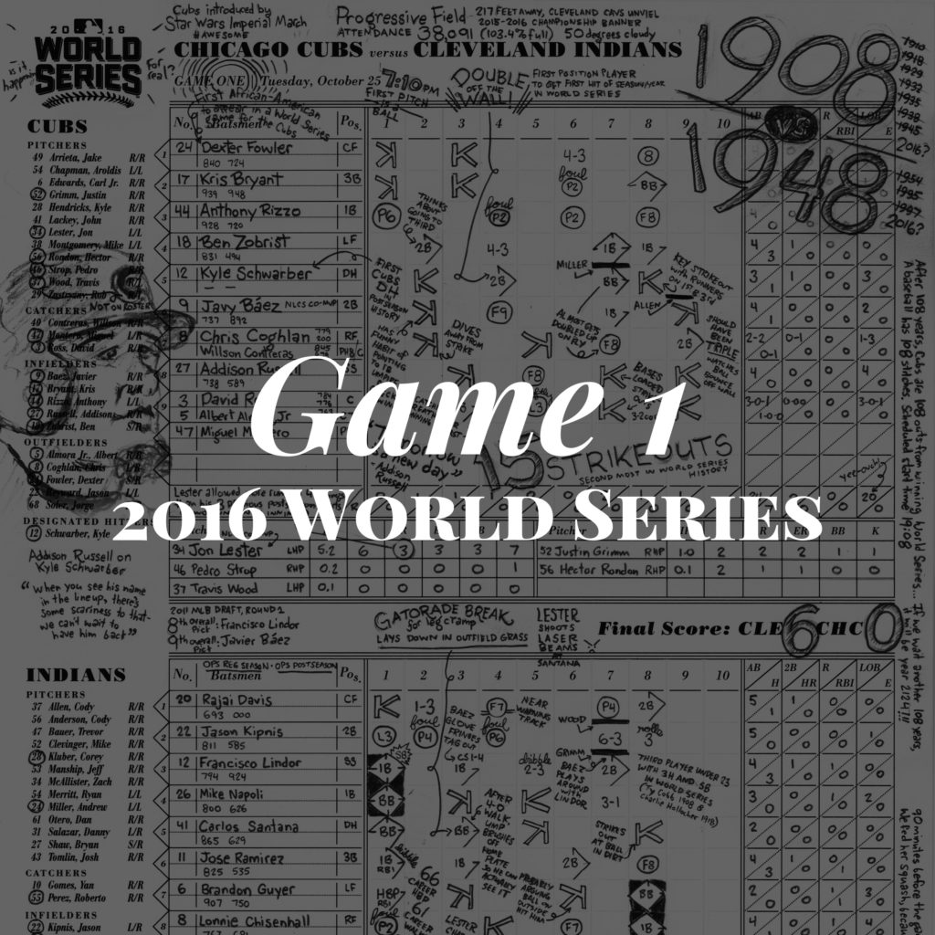Game 1 2016 World Series #ChicagoCubs #Cubs #WorldSeries #Game1 #WorldSeriesGame1 #scorecard #flythew #mlb #scorekeepersunion