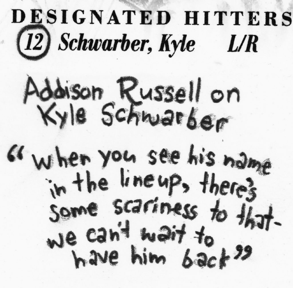 "57hitsAddison Russell on Kyle Schwarber: ""When you see his name in the lineup, there's some scariness to that--we can't wait to have him back."" #ChicagoCubs #Cubs #WorldSeries #Game1 #WorldSeriesGame1 #scorecard #flythew #AddisonRussell #Russell #KyleSchwarber #Schwarber #scorekeepersunion"