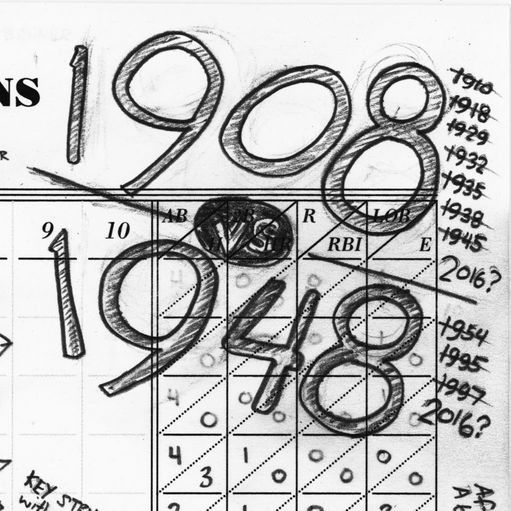 1908 vs 1948 (the times both the Cubs and the Indians won the World Series) #ChicagoCubs #Cubs #WorldSeries #Game1 #WorldSeriesGame1 #scorecard #flythew #scorekeepersunion