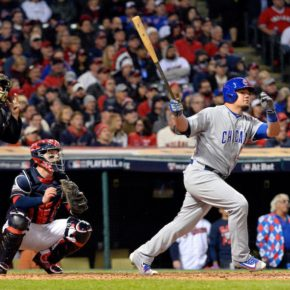 Kyle Schwarber strokes a double in the fourth inning of game 1, 2016 World Series (Ron Vesely/MLB Photos)