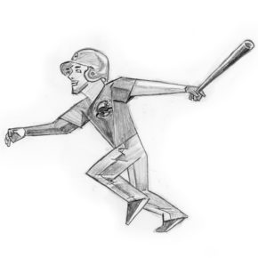 Pencil drawing of Kris Bryant hitting a home run in game 6 of 2016 World Series