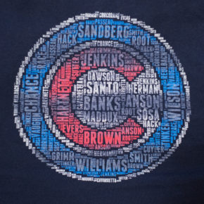Chicago Cubs t-shirt with many former Chicago Cubs players names