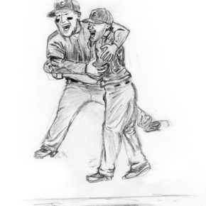 Pencil drawing of Anthony Rizzo and Kris Bryant celebrating the Cubs World Series championship in 2016