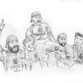 Pencil drawing of David Ross being carried off the field by Anthony Rizzo and Jason Heyward in 2016 World Series