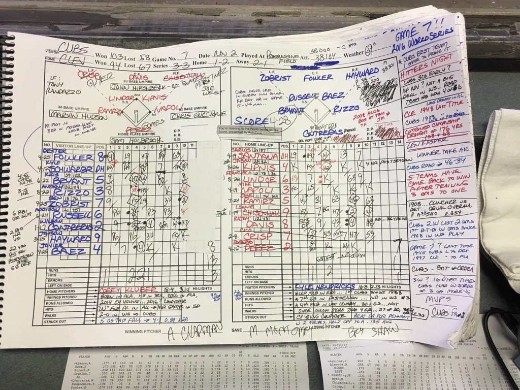 Pat Hughes' scorecard for game 7 of the 2016 World Series