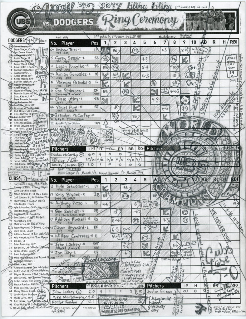 Scorecard for the 2017 Cubs ring ceremony