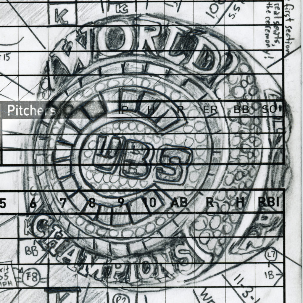 Cubs World Series ring drawn on a scorecard