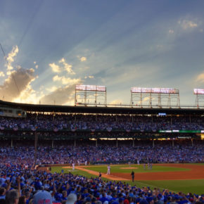 The sun comes out in game three as the Cubs tie the score 1-1 (and eventually win 2-1) #NLDS