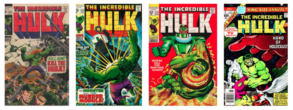 incredible hulk comic book covers with brick font