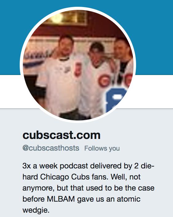screenshot of Cubscast twitter bio