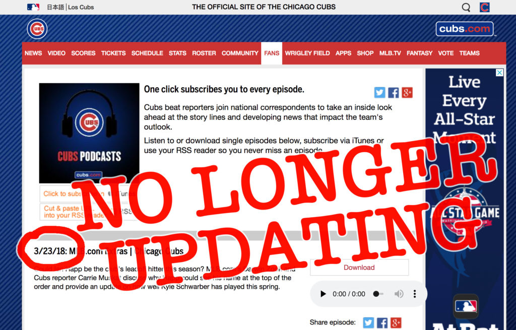 Cubs podcast no longer updating as of March 2018