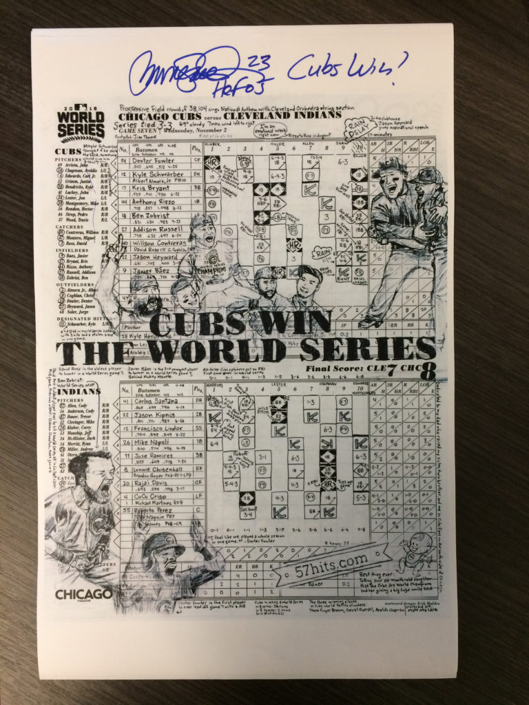 Ryne Sandberg autographed my 2016 World Series scorecard