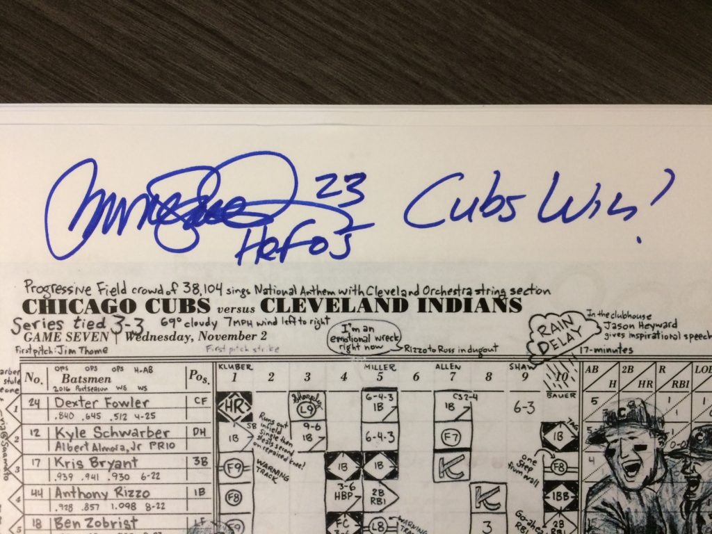 Ryne Sandberg autographed scorecard for 2016 World Series