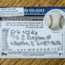 Back of 2015 Topps Update #US175 - Edinson Volquez