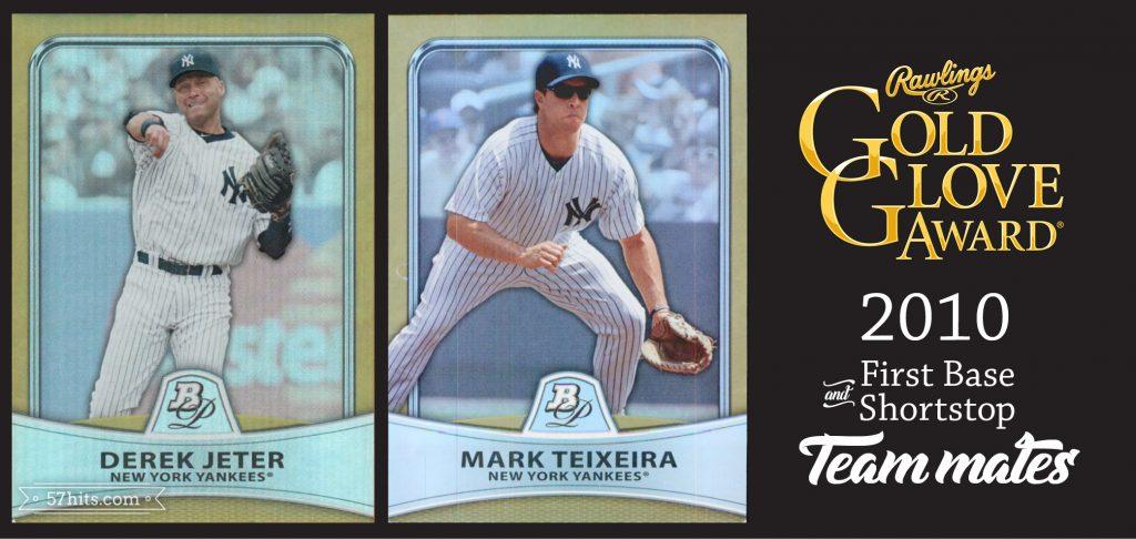 2010 Bowman Platinum #2 Derek Jeter, #36 Mark Teixeira