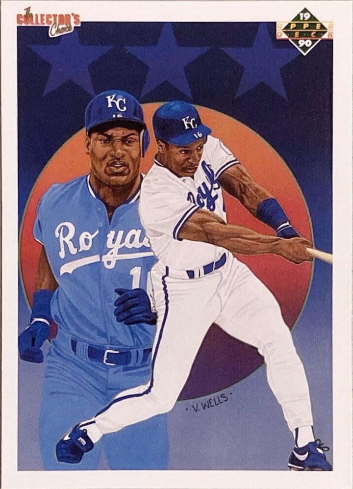1990 Upper Deck: Bo Jackson #32 (Kansas City Royals team checklist) Art by V. Wells