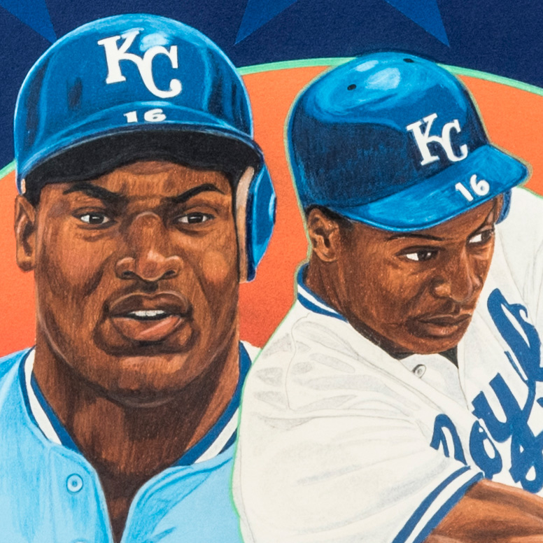 Detail view of V. Wells' painting of Bo Jackson