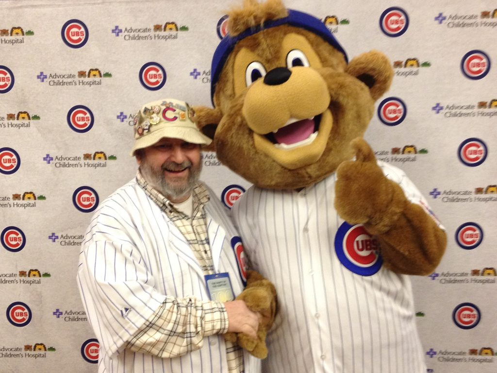 My dad and Clark the Cub at the 2014 Cubs Convention when Clark was introduced.