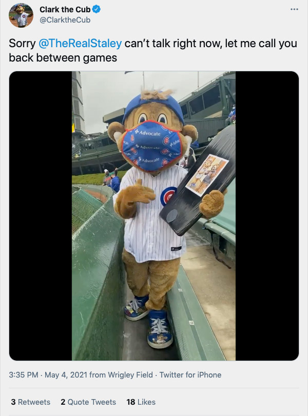 Clark the Cub in the Wrigley Field bleachers during a game