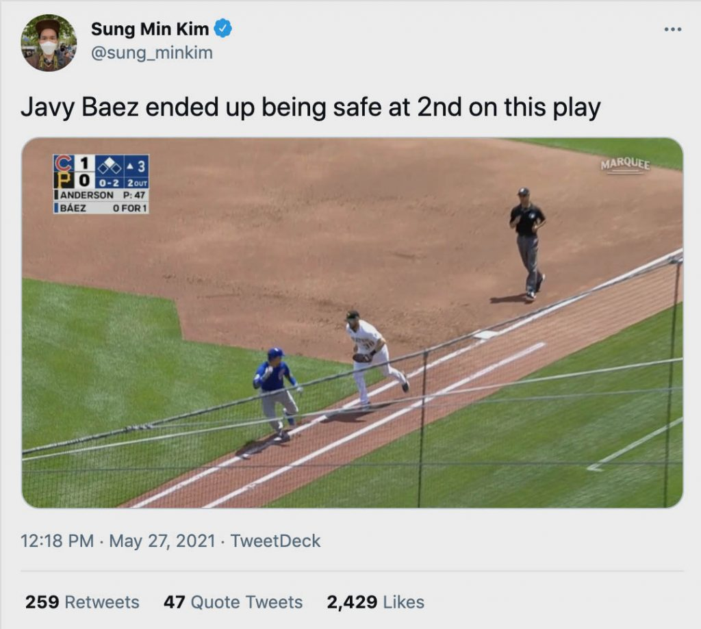 Javy Baez ended up being safe at 2nd on this play