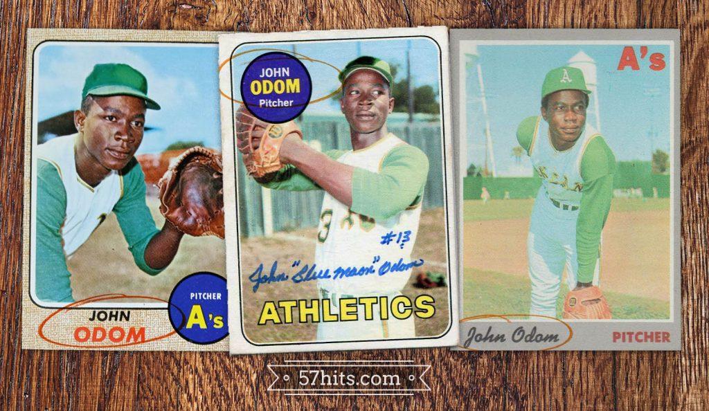 "Three baseball cards of John ""Blue Moon"" Odom: 1968 Topps, 1969 Topps, and 1970 Topps"