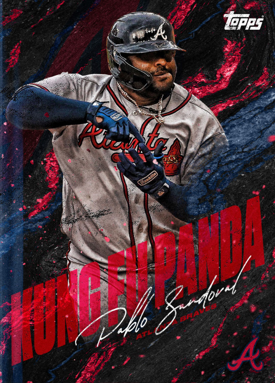 """Screenshot of Pablo Sandoval Topps Bunt 155430. From the series """"nicknames21"""" Card says """"Kung Fu Panda"""" in diagonal lettering."""