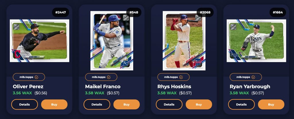 Screen Shot of cheapest Topps NFT cards priced at 56 cents
