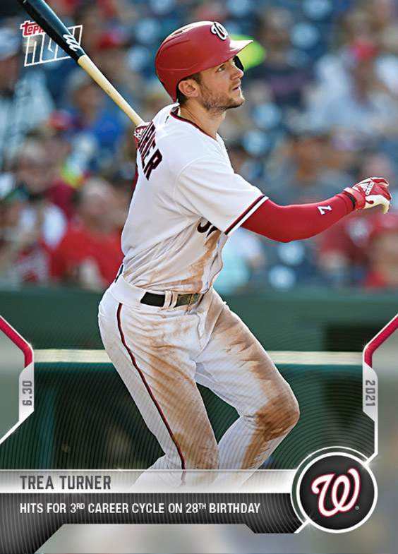 Trea Turner Topps Now Hits for 3rd career cycle on 28th birthday