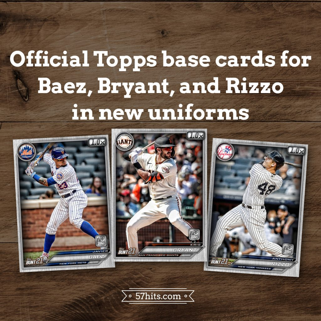 Official Topps base cards for Baez, Bryant, and Rizzo in new uniforms